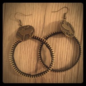 Unique zipper/elk earrings